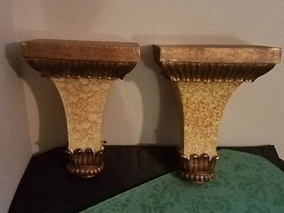 "Pair Of HANDSOME Vintage MARBLED/BRONZE Architectural Style Corbels~9""!"