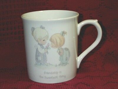 "1985 Precious Moments ""Friendship Is The Sweetest Thing"" Cup Mug cute 31/2"" Tall"