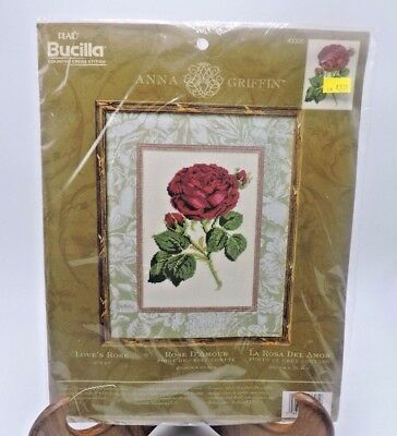 "Bucilla Embroidery Cross Stitch Kit Anna Griffin Love's Rose 8"" x 10"" NEW"