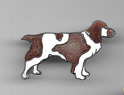 Vintage Welsh Springer Spaniel Dog old cloisonne pin