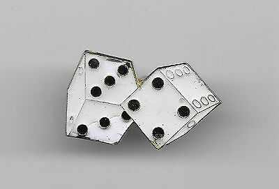 Vintage White Pair of Dice old enamel pin
