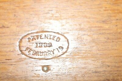 Free Ship Antique Singer 1889 Oak Puzzle Dovetail Wood Box & Sewing Attachments