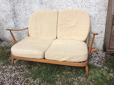 Retro Blond 1970 Vintage Ercol 203 Windsor 2 Seater Sofa Original Condition