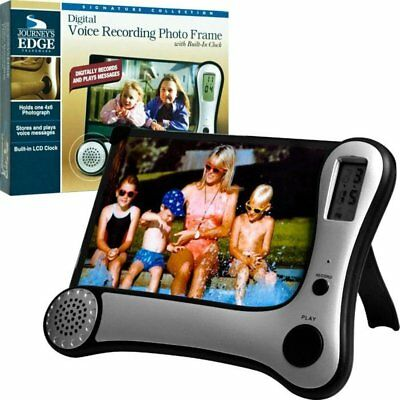 Digital Voice Recording Photo Frame with Clock Silver Picture Journey's Edge NEW