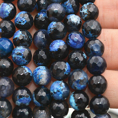 """8mm Faceted blue Multicolor Fire Agate Gems Round Loose Beads 15 """"AA"""