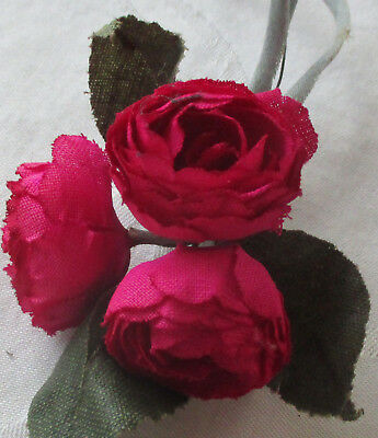 Bundle Vintage Millienry Rose Rosy Red 3 Wire Stems  French