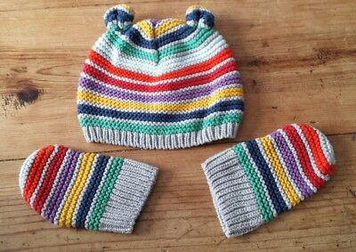 Baby GAP Rainbow Knitted hat with ears and matching mittens