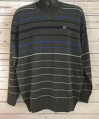 Travis Mathew Men's V Neck Pullover Sweater Size Large Gray Striped