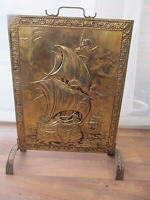 Vintage Fire Screen Brass Plate Embossed Galleon Ship & Shell Pattern  H  57 cm