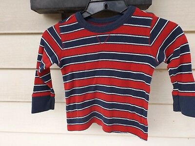 boys Old Navy Size 3T Red/Navy/White Striped Long Sleeve Tee
