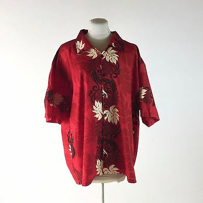 Vintage Red Hawaiian Shirt Tropical Floral Short Sleeve Button Down Sz XXL