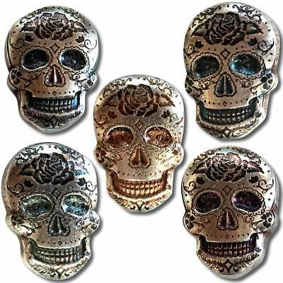 2 oz Silver Rose Sugar Skull - Monarch 3D Poured Bar Day of the Dead - IN-STOCK