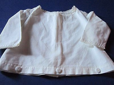 vintage baby shirt - top - button waist - white - lace - 1940's -1950's