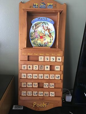 Winnie the Pooh Bear Perpetual Wood Calendar and  Plates