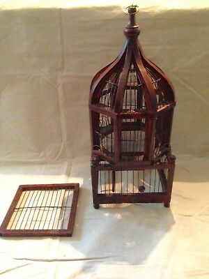 Decorative Victorian Style Wooden Metal Hanging Bird Cage