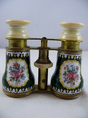 Antique Opera Glasses Green Enameled French with original case.