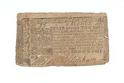 "Orig. 1774 Colonial Note ""HALF DOLLAR""  Maryland  10th April, 1774"