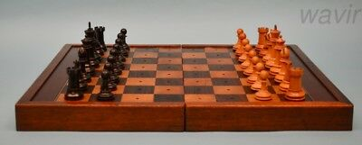 Large Antique F.H. Ayres Staunton Chess Set & Rosewood Chess Board c. 1900