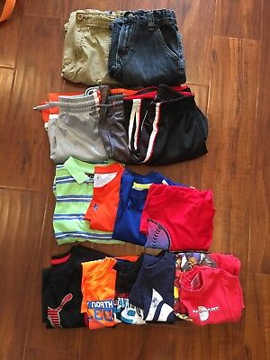 Lot (14) Boys SHORT SLEEVE SHIRTS SHORTS Chaps Puma Under Armour SIZE 6 7