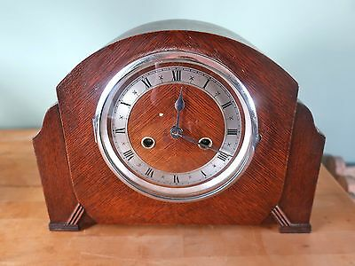 Vintage Art Deco Chiming Wooden Mantel Clock