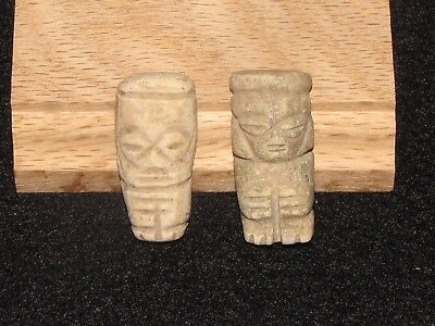 Pre Columbian, Two Mixtec Stone Idols, Late Post Classic 1200 AD. 1500 A.D.