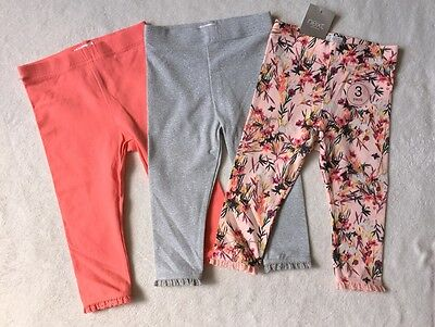 ***BNWT Next baby girl Pink Floral/Silver leggings 3 pack set 6-9 months***