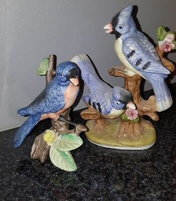 Set of 2 Vintage UOGC Double Bluebird Porcelain Figurine Made in Korea