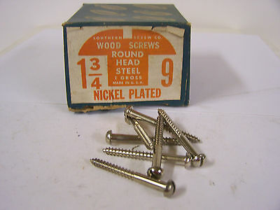 "#9 x 1 3/4"" Round Head Nickel Plated Wood Screws Slotted - Qty. 144"