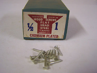 "#1 x 1/2"" Flat Head Wood Screws Slotted Cadmium Plated Made in USA Qty 144"
