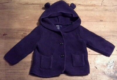 Baby GAP Blue Knitted Hooded Cardigan 3-6 months