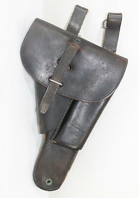 Vintage Leather Luger Holster Semi Automatic Pistol Magazine Storage