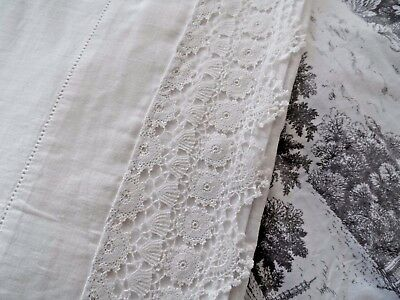 Vintage French metis White Cotton & Linen pillowcases Pair Unused