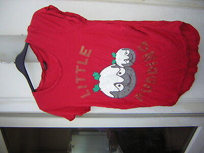 Ladies Peacocks Maternity Short Sleeve Christmas Top Little Pudding Size 16