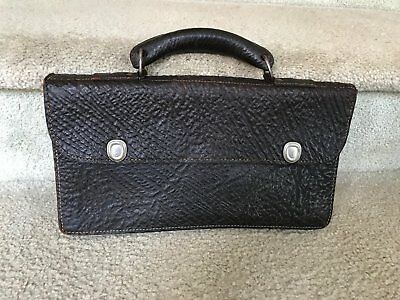 Vintage Walrus Hide Leather Skin Accordion Satchel Document Bag