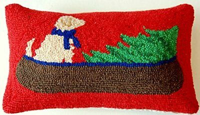 """Rustic Canoe Golden Retriever Dog and Christmas Tree Hooked Pillow - 16"""" x 9"""""""