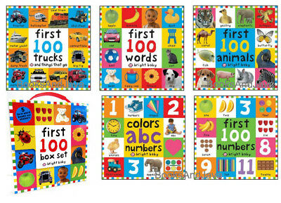 Bright Baby First 100 Box Set Colors ABC numbers,Words,Animals +Bks Stickers NEW