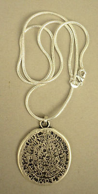 Disc of Phaistos Pendant on Chain in Silver on Fine Pewter