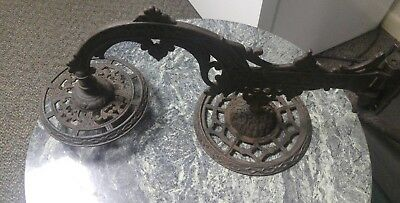 Vintage Antique Cast Iron Wall Sconce with Double Bracket Oil Lamp Holder Pair