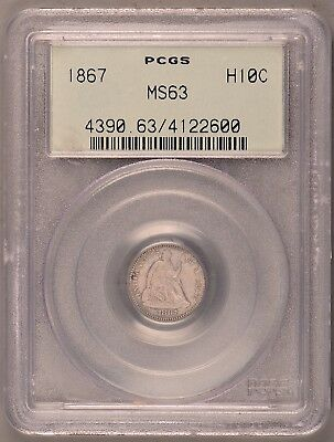 HIGH GRADE OGH!!! 1867 Seated Half Dime ~ PCGS MS63 ~ Auction Start @ $0.99!!!