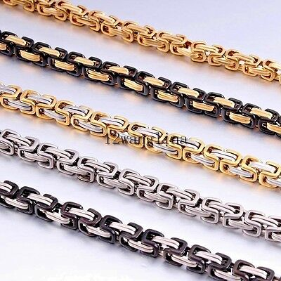 5MM Men Chain Silver Gold Black Tone Stainless Steel Box Byzantine Link Necklace