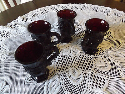 Set of 4 AVON CAPE COD RUBY RED FOOTED COFFEE MUGS MINT