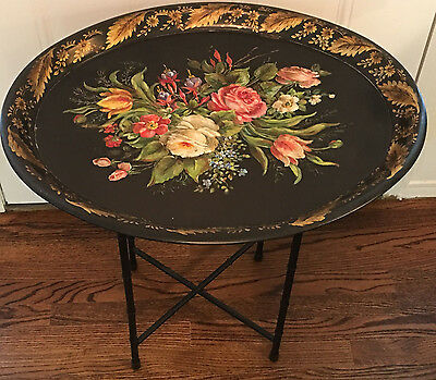 Tole Toleware Hand Painted Tray STAND LEGS BASE TABLE Black Bamboo Metal Folding