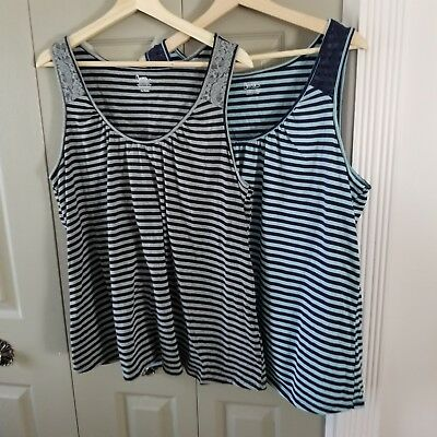 Lot of 2 Bump in the Night Nursing Tanks Size XL Striped Built in Bra Maternity
