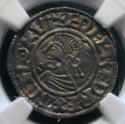 978-1016 England Penny S-1154 AETHELRED II AU Details Peck Marked