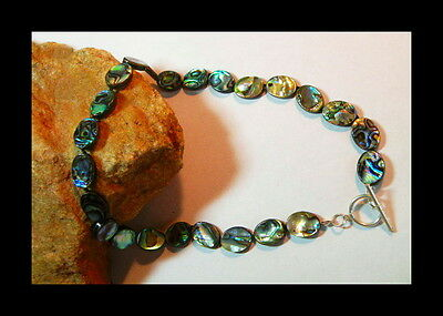 """Genuine 19"""" Large Rainbow Colors Genuine Abalone Sterling Silver Necklace!"""