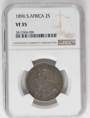1896 South Africa 2 Shillings Ngc Vf35