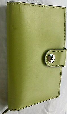 FRANKLIN COVEY Bright Green Genuine LEATHER Organizer Wallet PLANNER