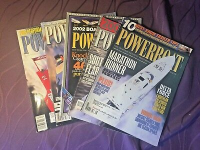 POWERBOAT Magazine - Lot of 5 issues from 2002 • Hot Boat Speedboat Boating