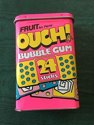 Vtg 90's OUCH! Bubble Gum Tin Candy Container ~ Original Design ~ Amurol ~ EMPTY