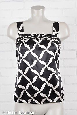 White House Black Market woman's top size S criss cross pattern tank silk satin